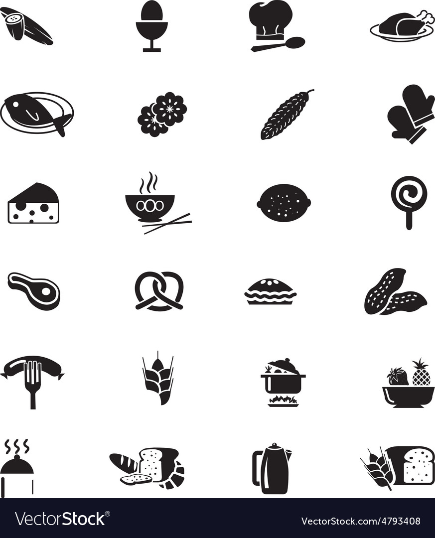 Food solid icons 8 vector