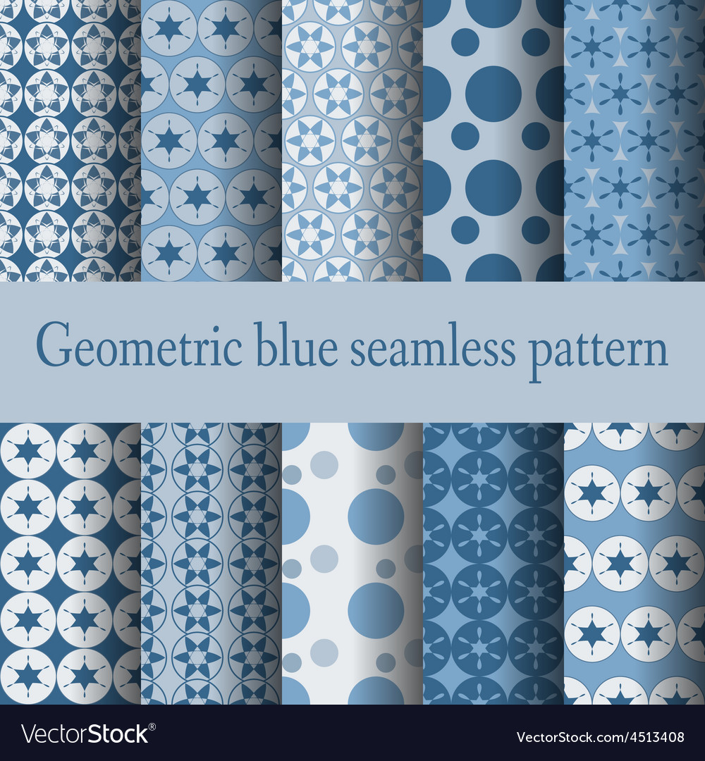 Geometric blue seamless pattern - vector | Price: 1 Credit (USD $1)