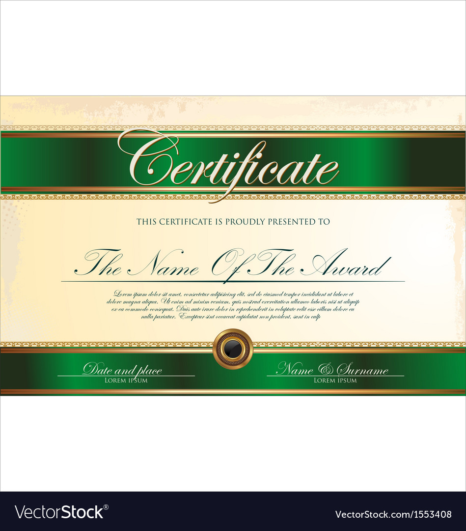 Green and gold certificate template vector | Price: 1 Credit (USD $1)