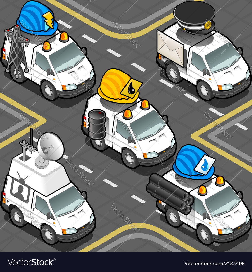 Isometric workers trucks vector | Price: 1 Credit (USD $1)