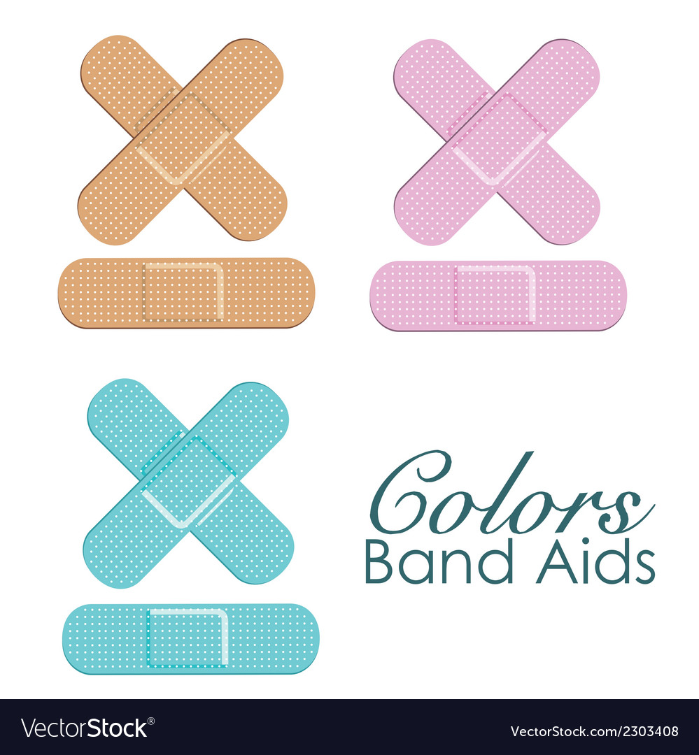 Pastels color band aids isolated ove white backgro vector | Price: 1 Credit (USD $1)