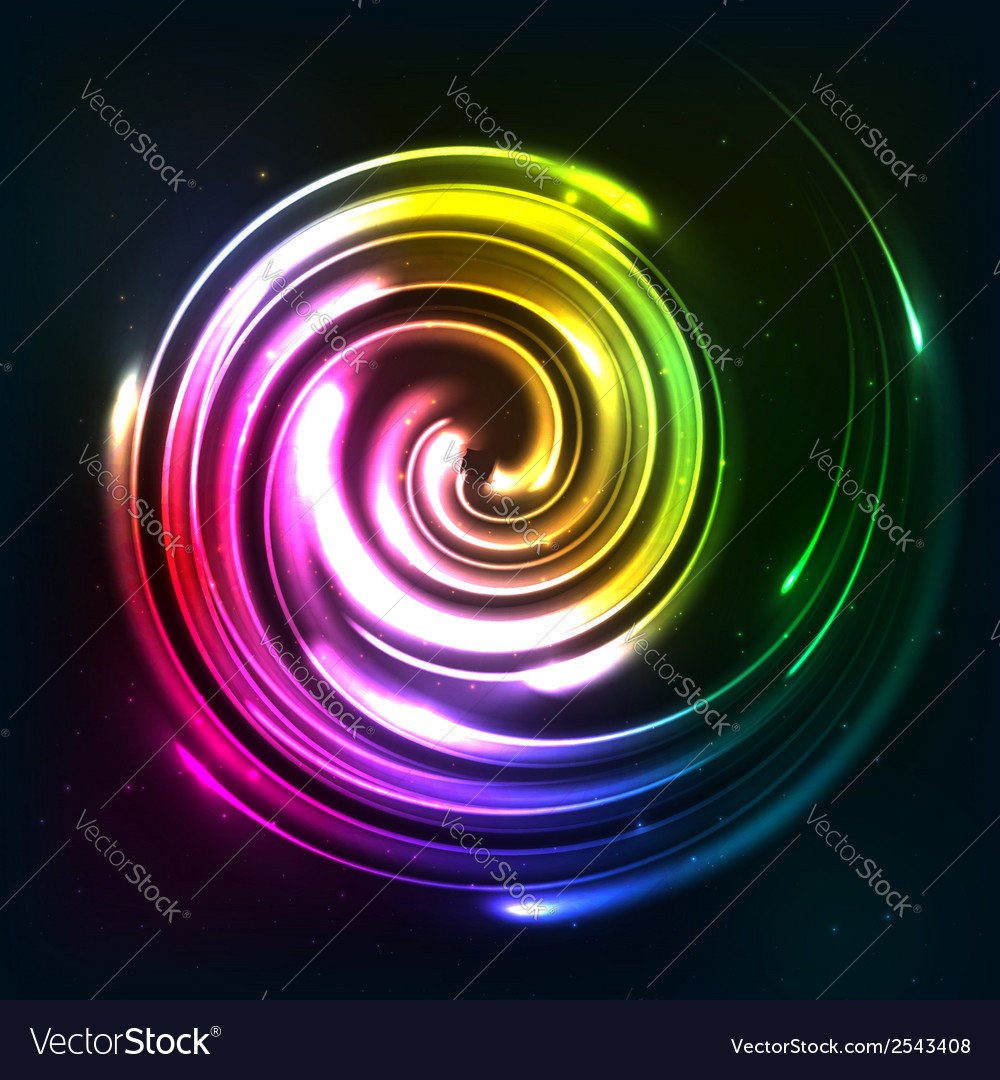 Rainbow colors shining neon lights twirl vector | Price: 1 Credit (USD $1)