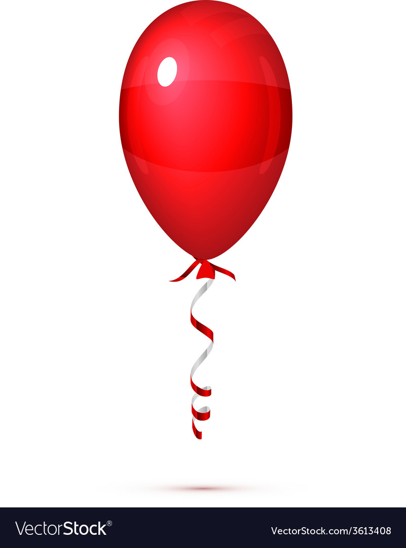 Red balloon with ribbon isolated on white vector   Price: 1 Credit (USD $1)