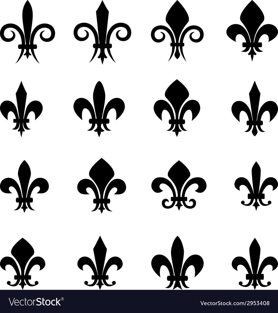 Set of 16 different fleur de lis symbols vector | Price: 1 Credit (USD $1)