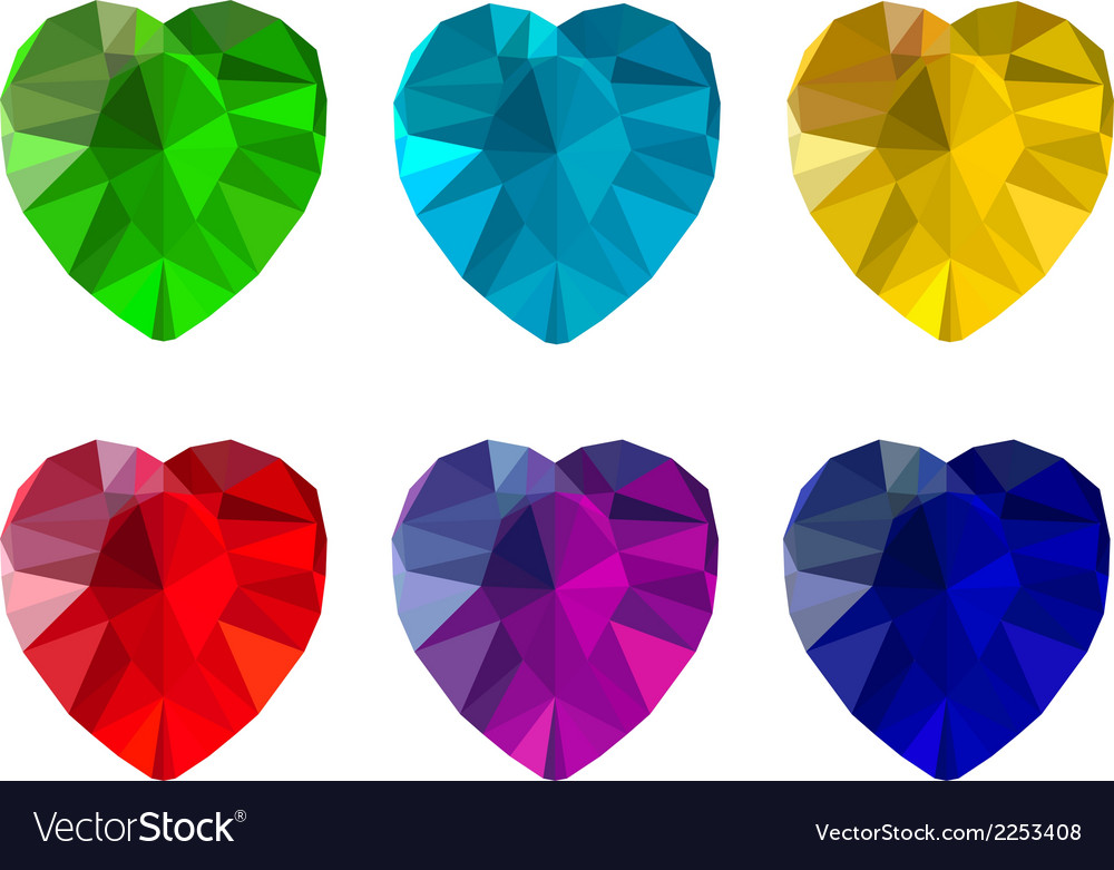 Set of heart-shaped gemstones vector | Price: 1 Credit (USD $1)