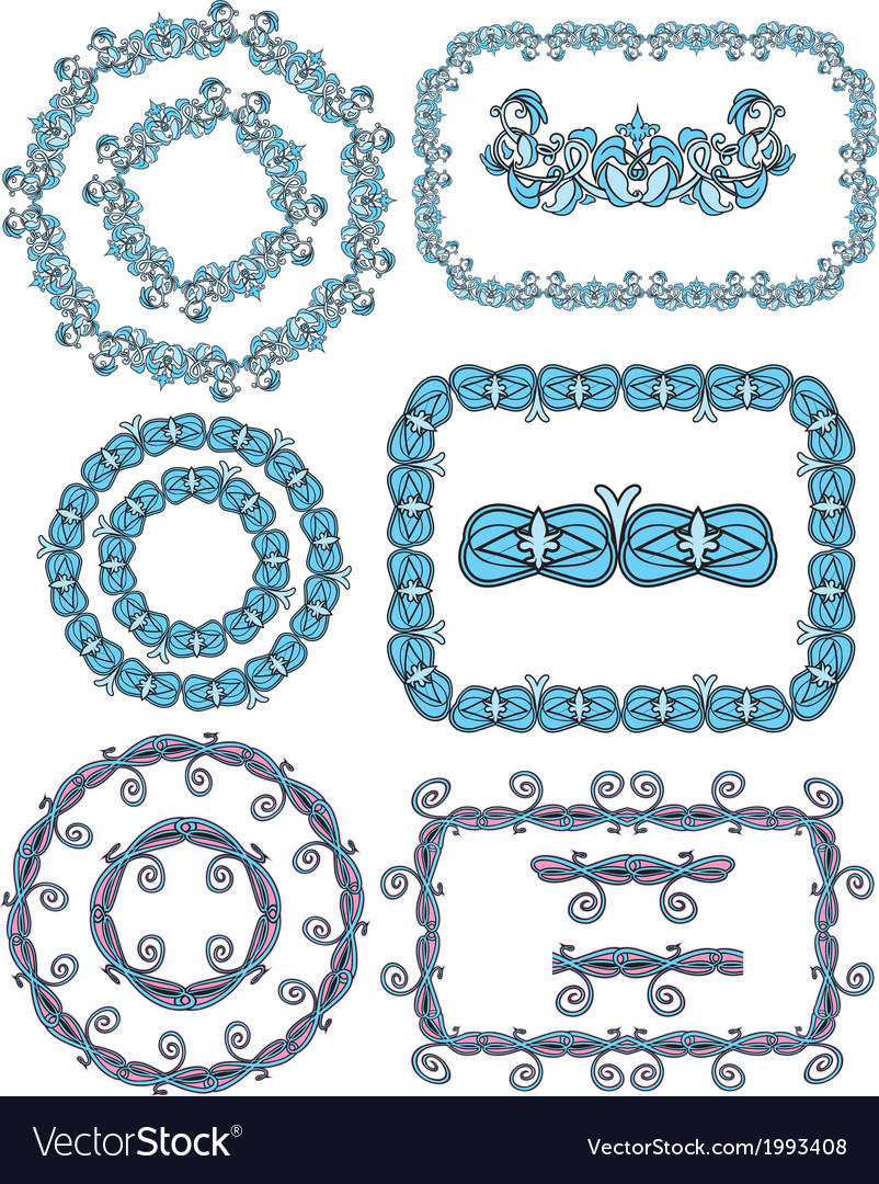 Set of rectangular and round frames - floral ornam vector | Price: 1 Credit (USD $1)