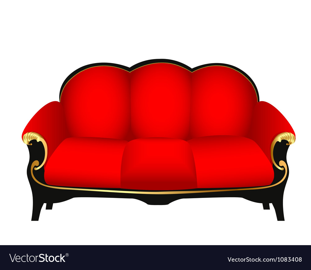 Sofa red with gold carved patterns vector | Price: 1 Credit (USD $1)