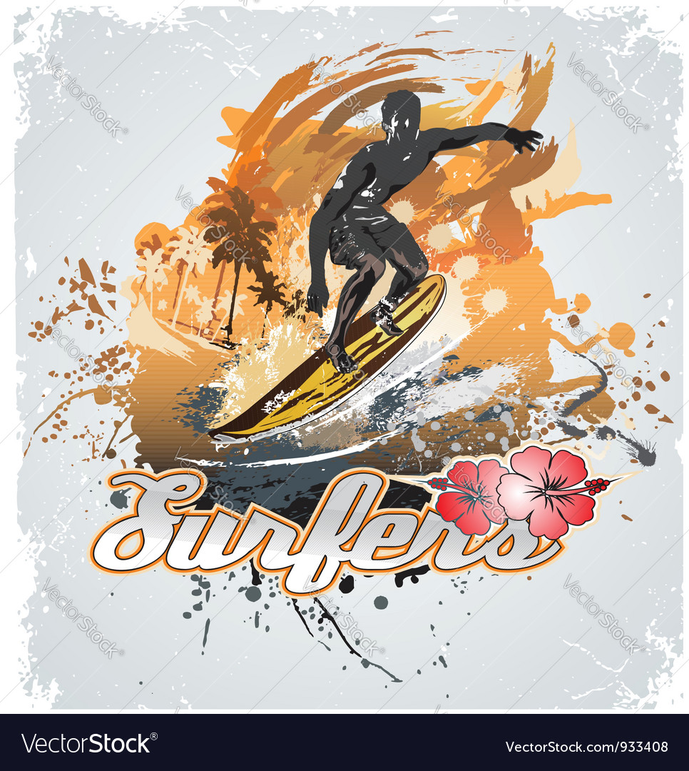Surfing coconut vector | Price: 1 Credit (USD $1)