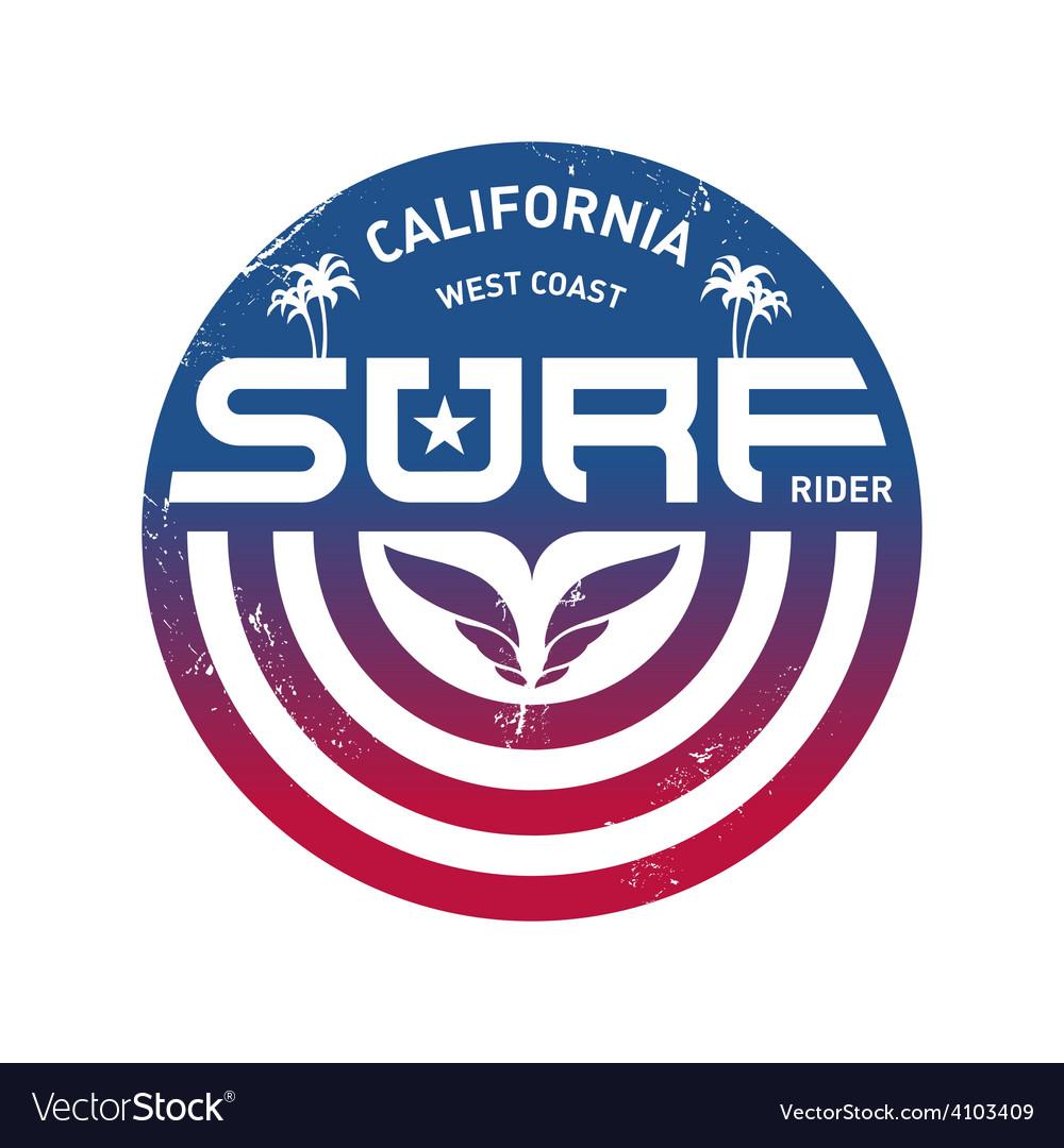 California west coast surfers pacific ocean team vector | Price: 1 Credit (USD $1)