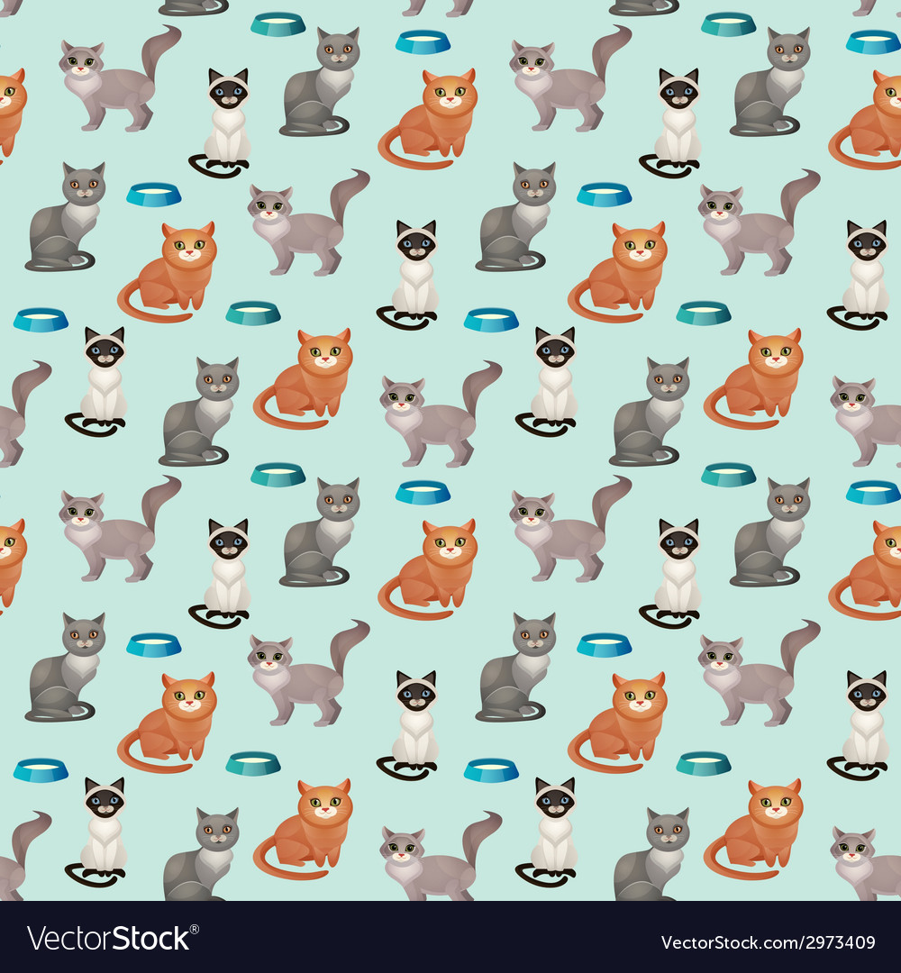Cats seamless pattern vector | Price: 1 Credit (USD $1)