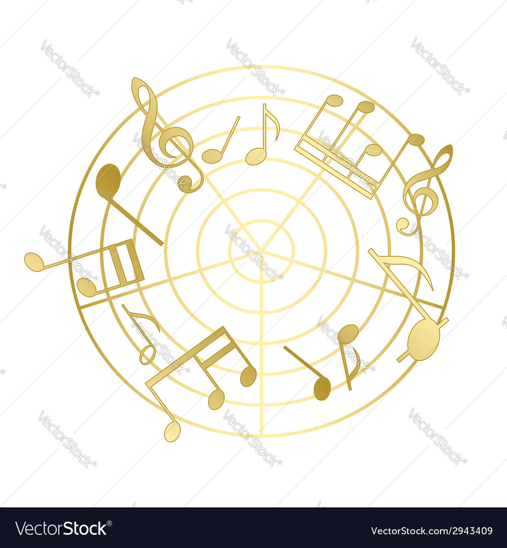 Golden music notes with gradient vector | Price: 1 Credit (USD $1)