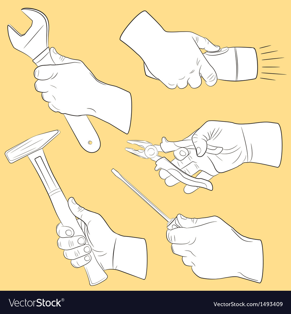 Hand tools in use vector | Price: 1 Credit (USD $1)