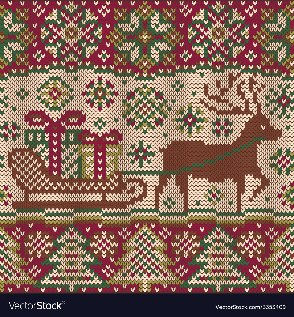 New year knitted pattern with reindeer vector | Price: 1 Credit (USD $1)