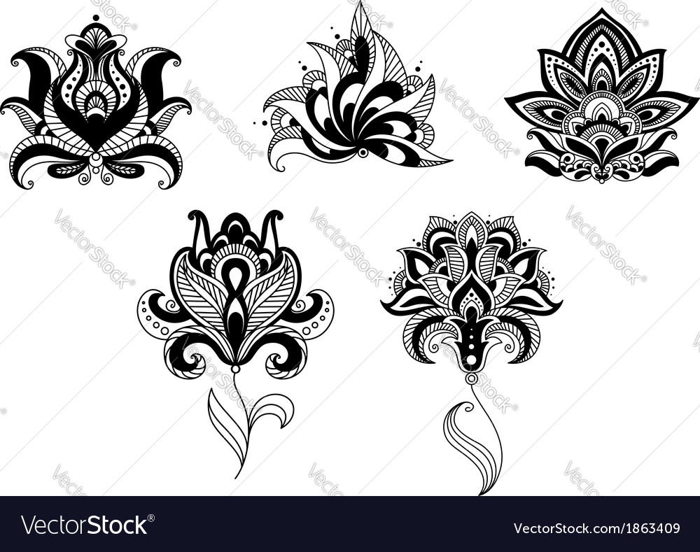 Ornate indian and persian floral design set vector | Price: 1 Credit (USD $1)