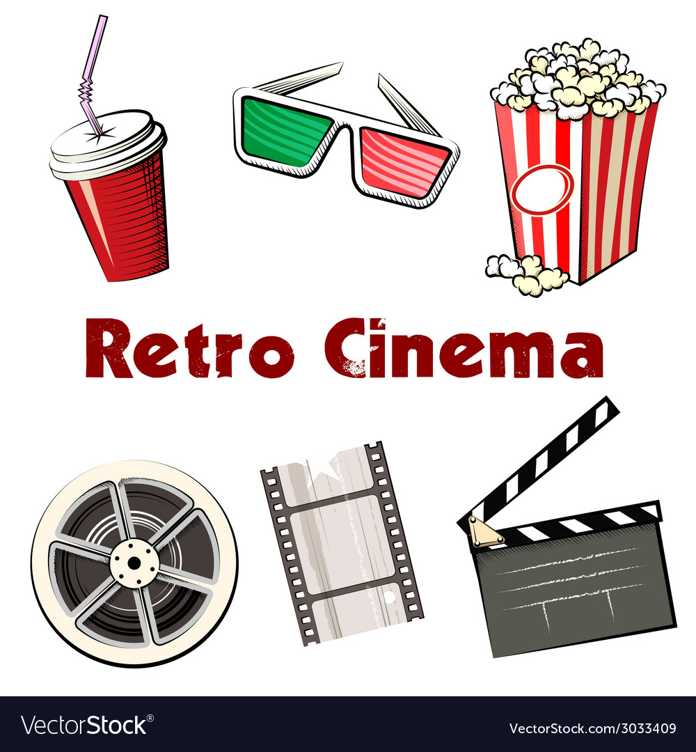 Set of colored retro cinema icons vector | Price: 1 Credit (USD $1)