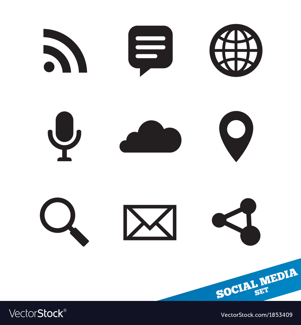 Social media icons black signs for app vector | Price: 1 Credit (USD $1)