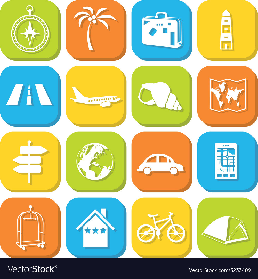 Travel icons in squares vector | Price: 1 Credit (USD $1)