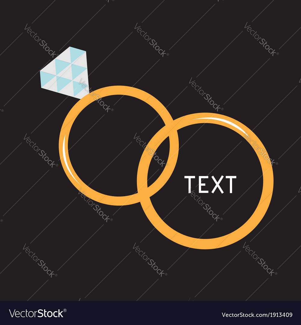Wedding gold rings diamond card vector | Price: 1 Credit (USD $1)