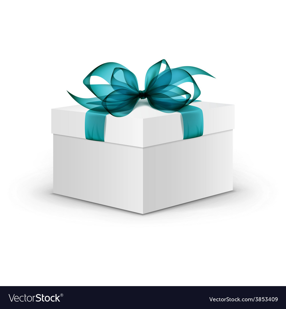 White square gift box with light blue ribbon vector | Price: 3 Credit (USD $3)