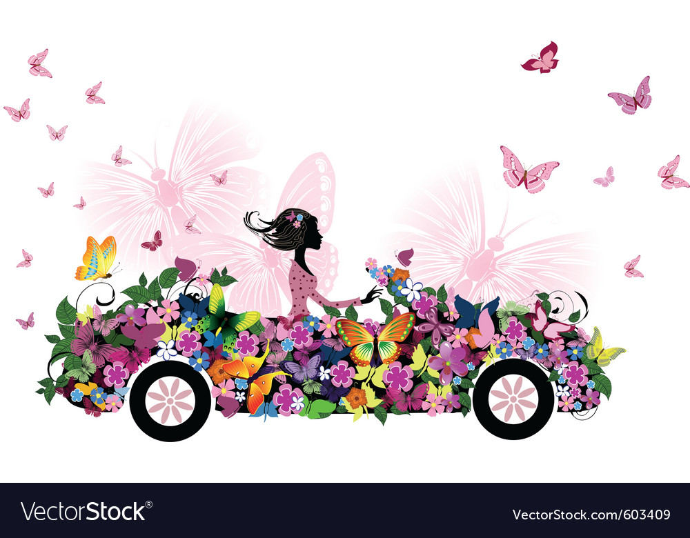 Woman on vintage flower car vector | Price: 1 Credit (USD $1)