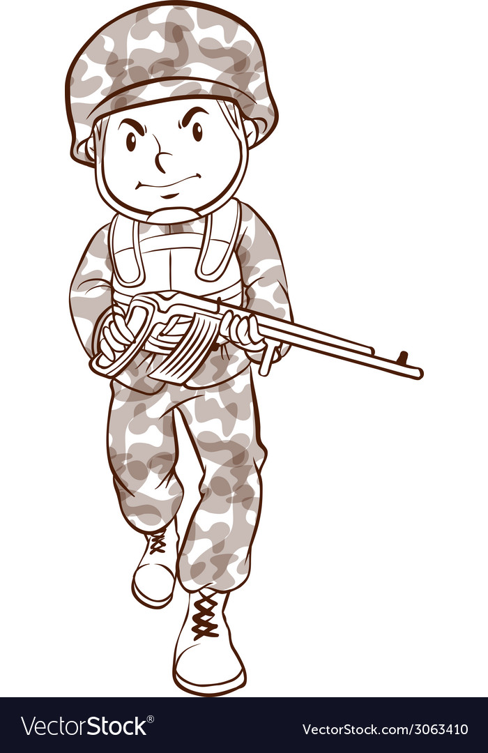A simple drawing of a soldier vector | Price: 1 Credit (USD $1)