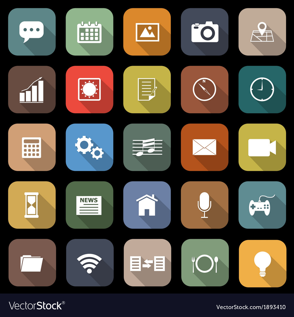 Application flat icons with long shadow vector | Price: 1 Credit (USD $1)