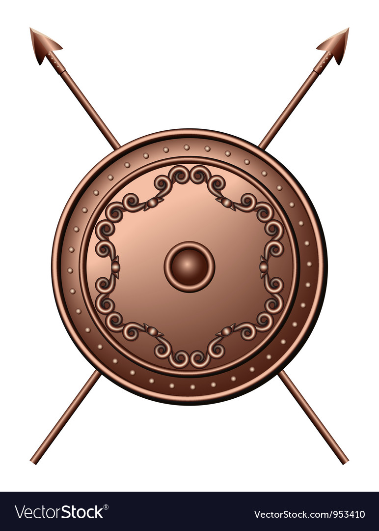 Bronze shield and crossed spears vector | Price: 1 Credit (USD $1)