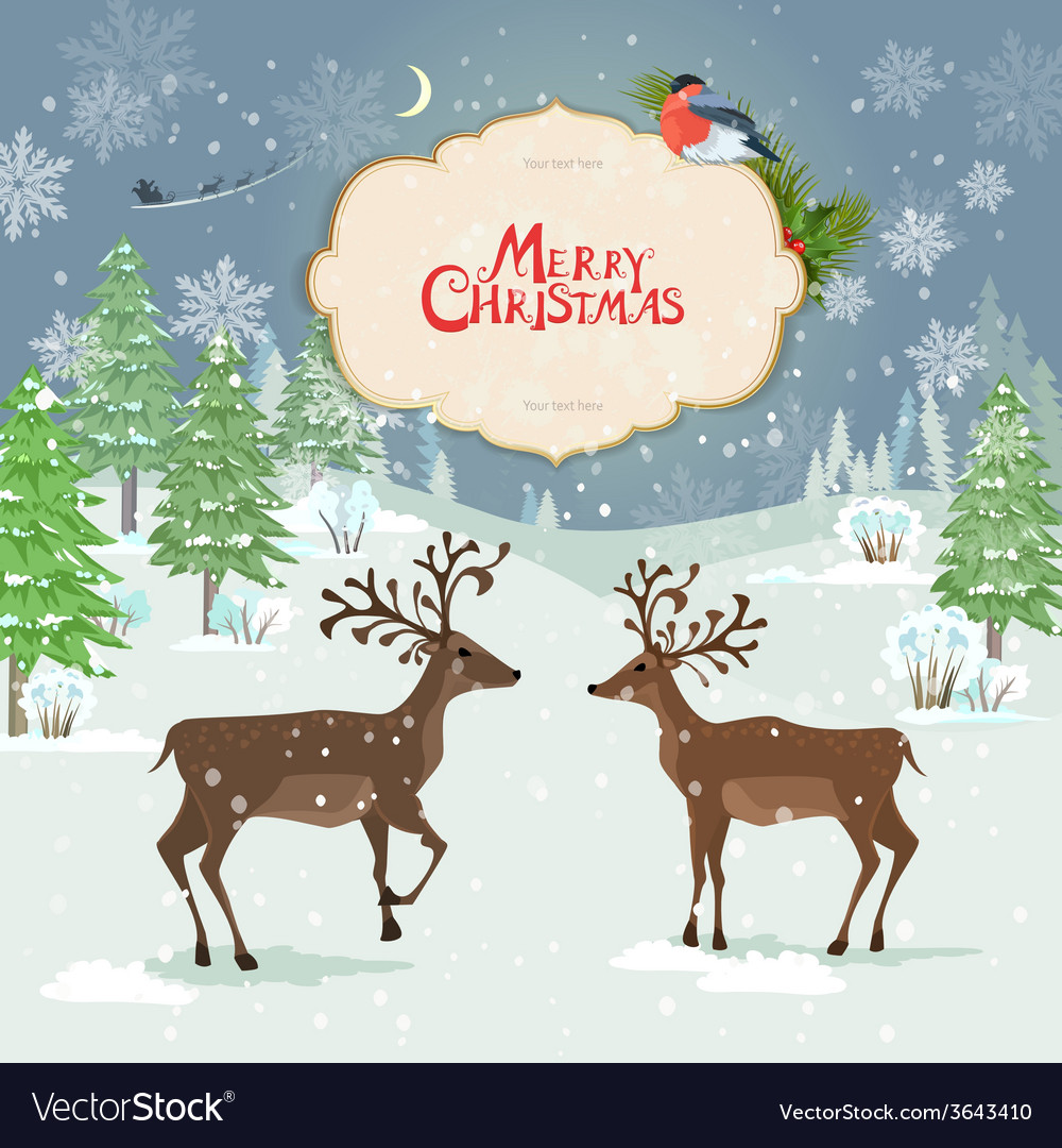 Christmas card with deers in winter forest vector