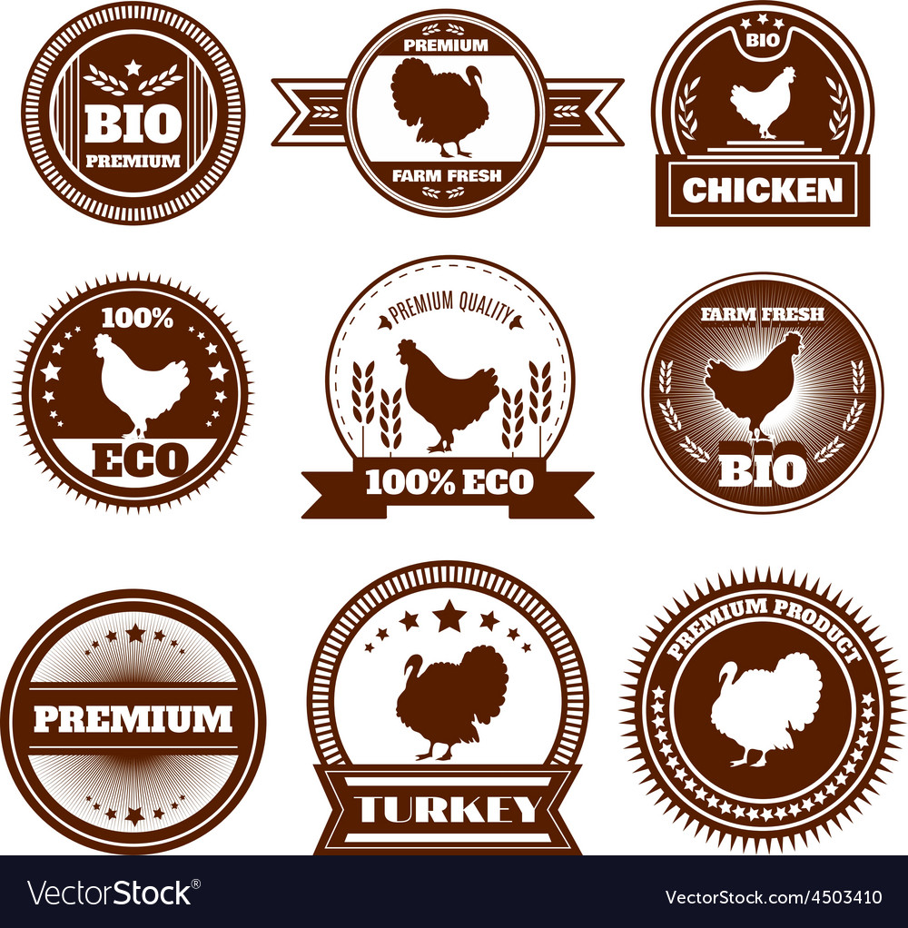 Eco farm chicken turkey emblems vector   Price: 1 Credit (USD $1)