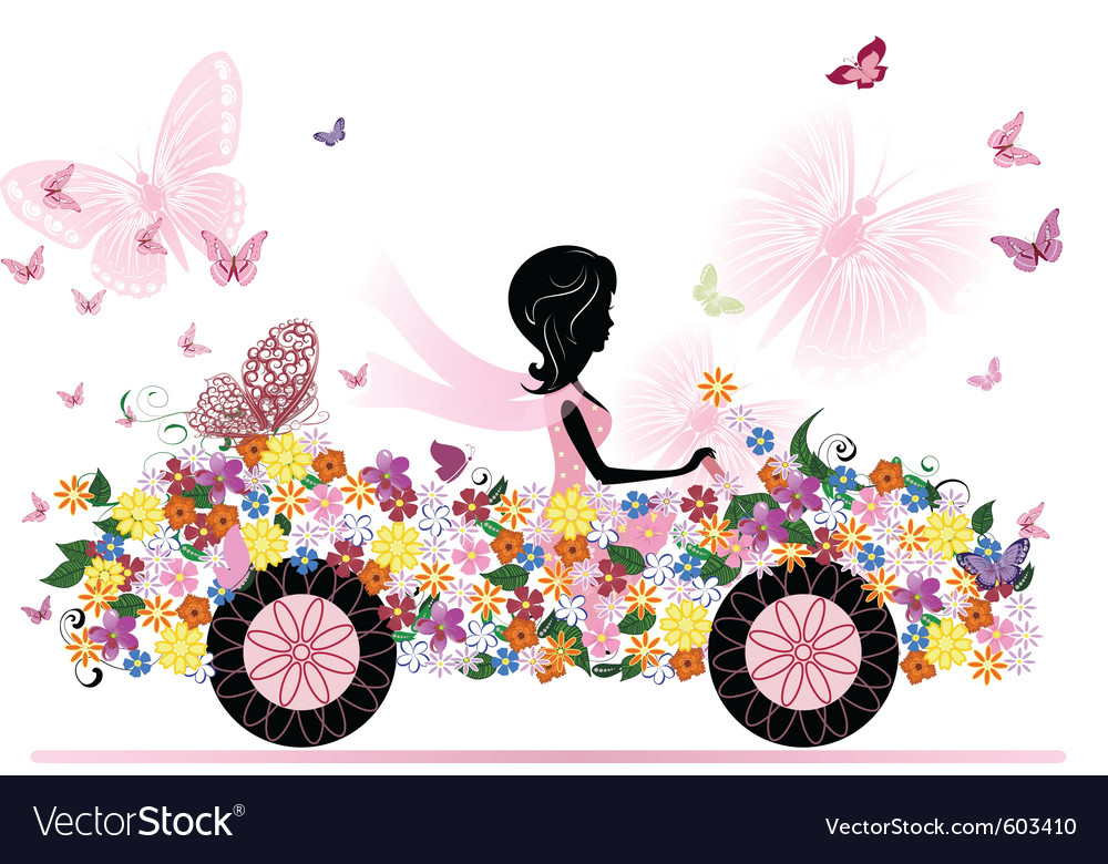 Girl on a romantic flower car vector | Price: 1 Credit (USD $1)