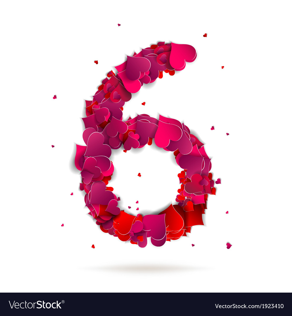 Number six 6 made from red hearts love alphabet vector | Price: 1 Credit (USD $1)