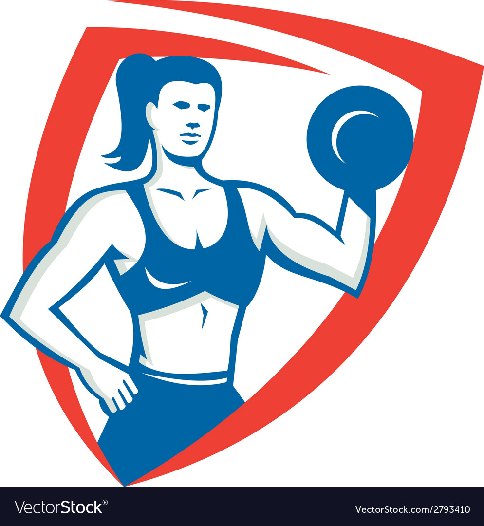 Personal trainer female lifting dumbbell retro vector | Price: 1 Credit (USD $1)