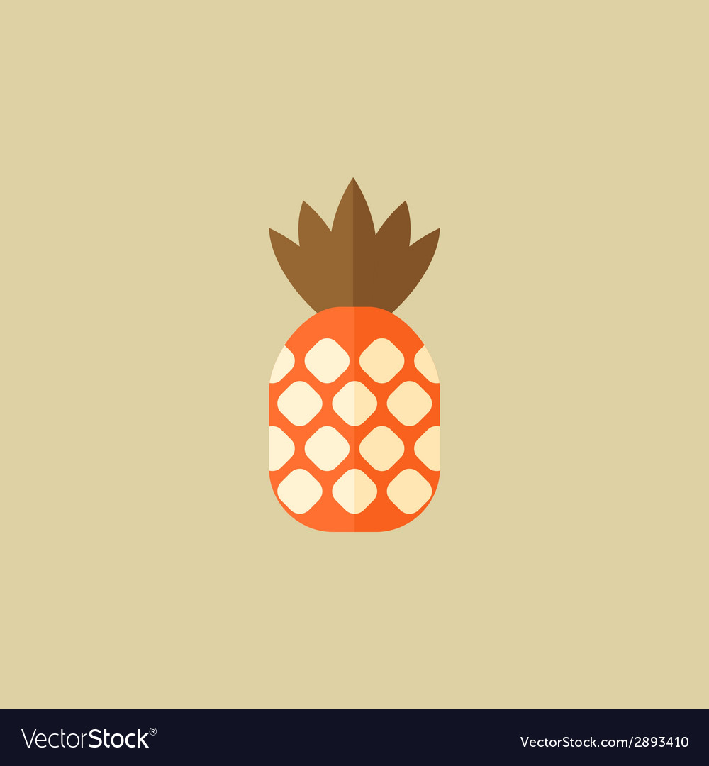 Pineapple food flat icon vector | Price: 1 Credit (USD $1)