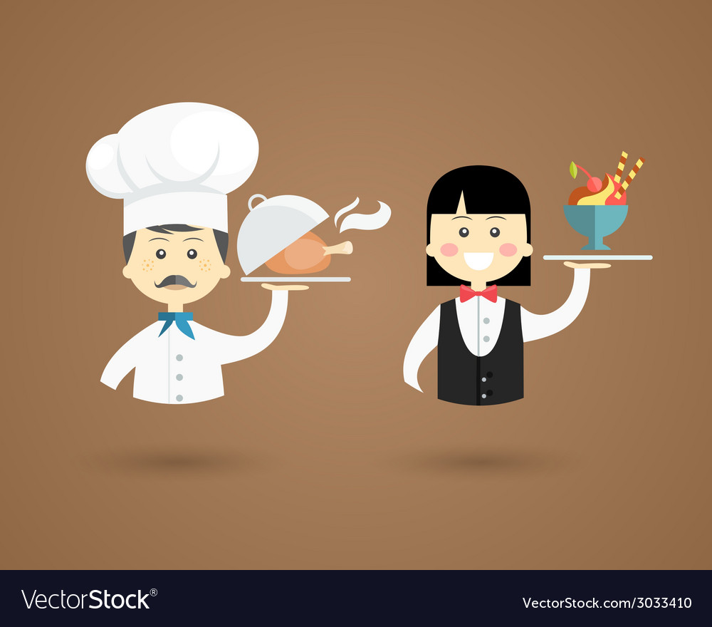 Profession character icons of a chef and waiter vector | Price: 1 Credit (USD $1)