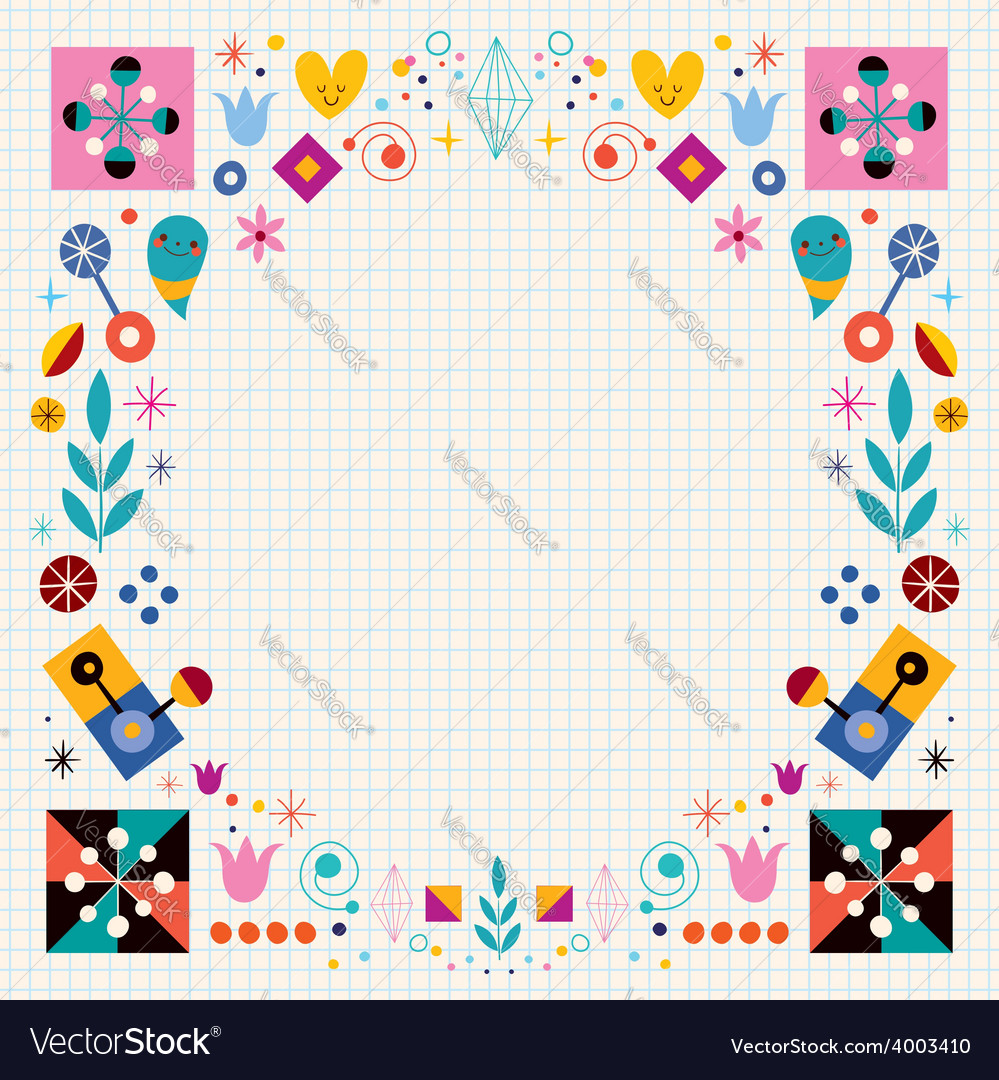 Retro nature abstract art frame border background vector   Price: 1 Credit (USD $1)