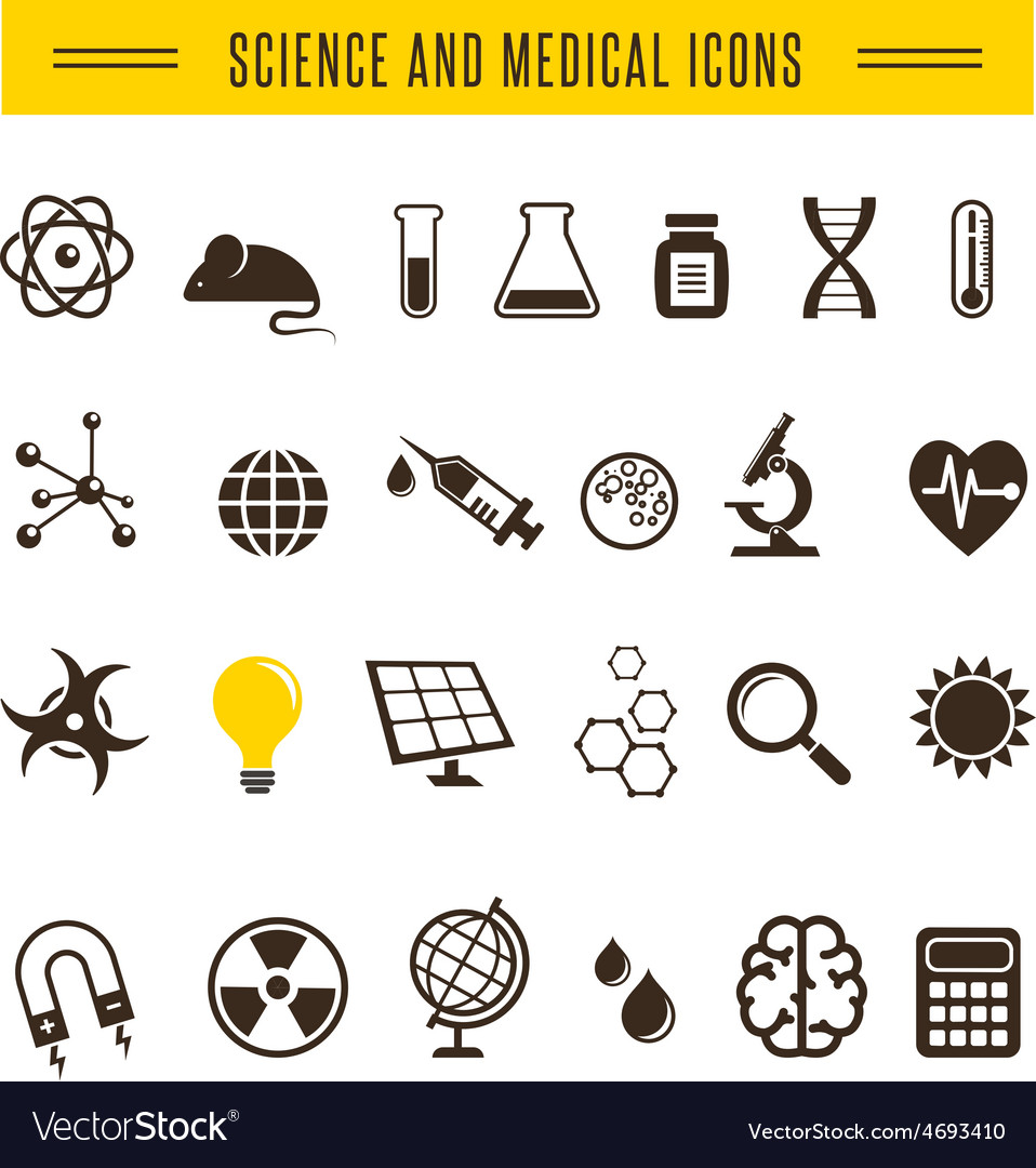 Scientist pack - research bio and chemistry icons vector | Price: 1 Credit (USD $1)