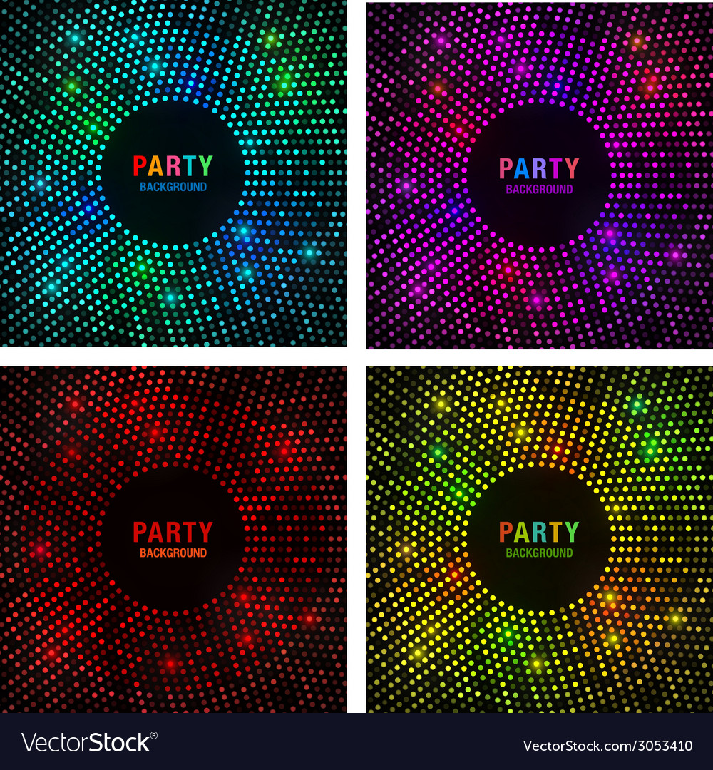 Set of abstract circular colorful bright glow back vector | Price: 1 Credit (USD $1)