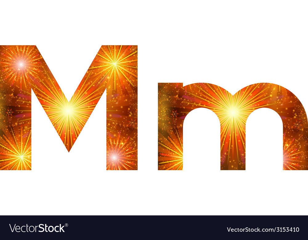 Set of letters firework m vector | Price: 1 Credit (USD $1)