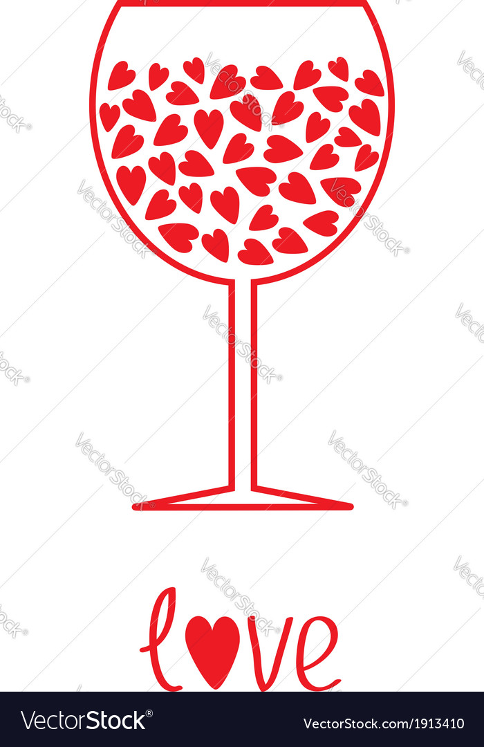 Wine glass with hearts inside card vector | Price: 1 Credit (USD $1)
