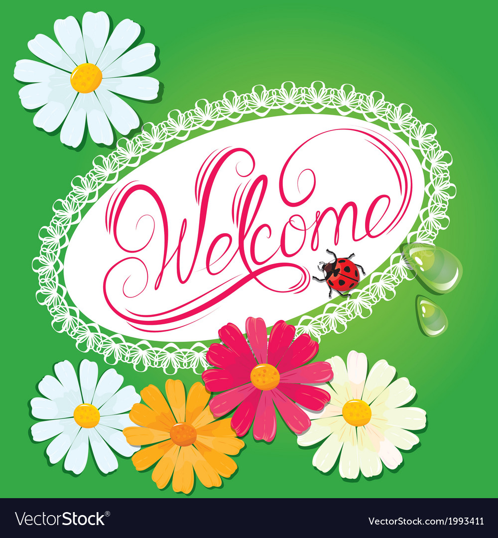 Calligraphic handwritten sign welcome in oval lace vector | Price: 1 Credit (USD $1)