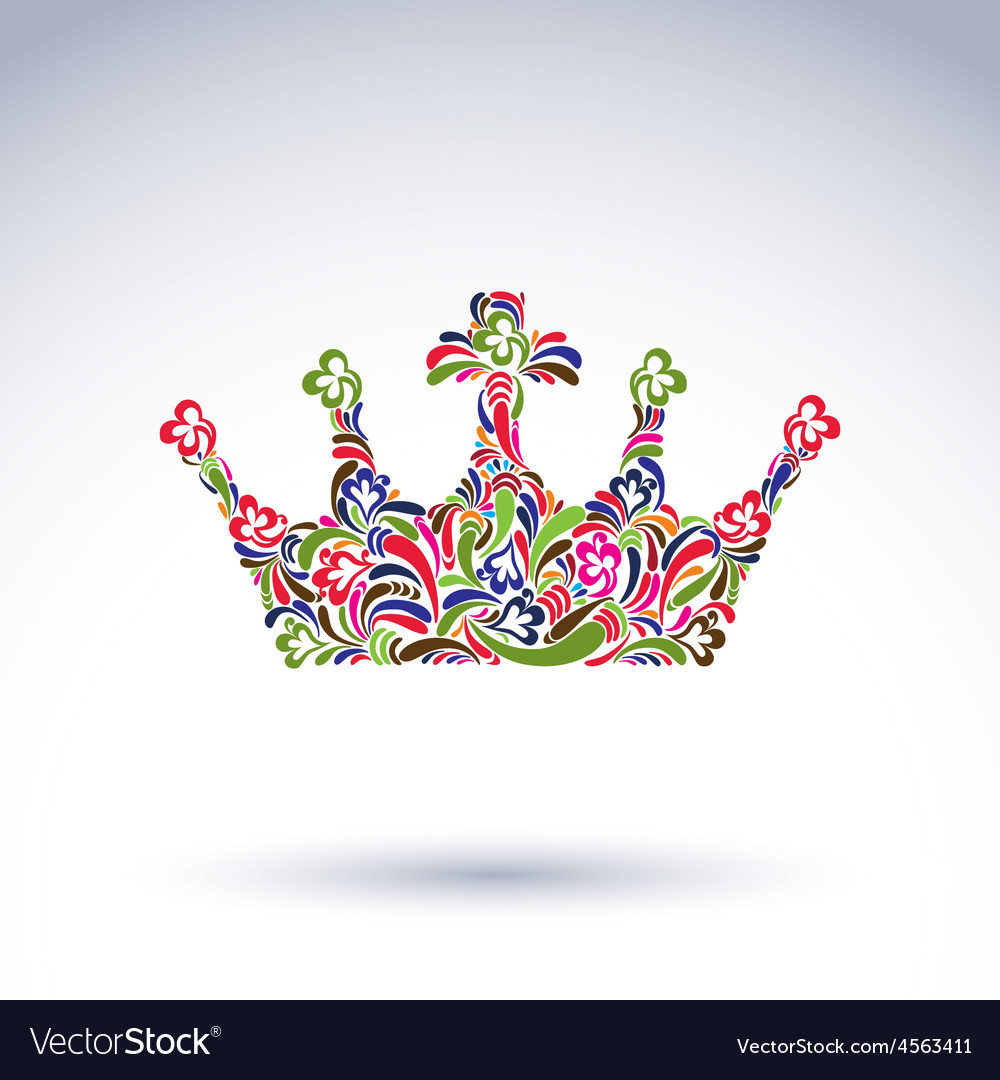 Colorful flower-patterned crown coronation design vector | Price: 1 Credit (USD $1)