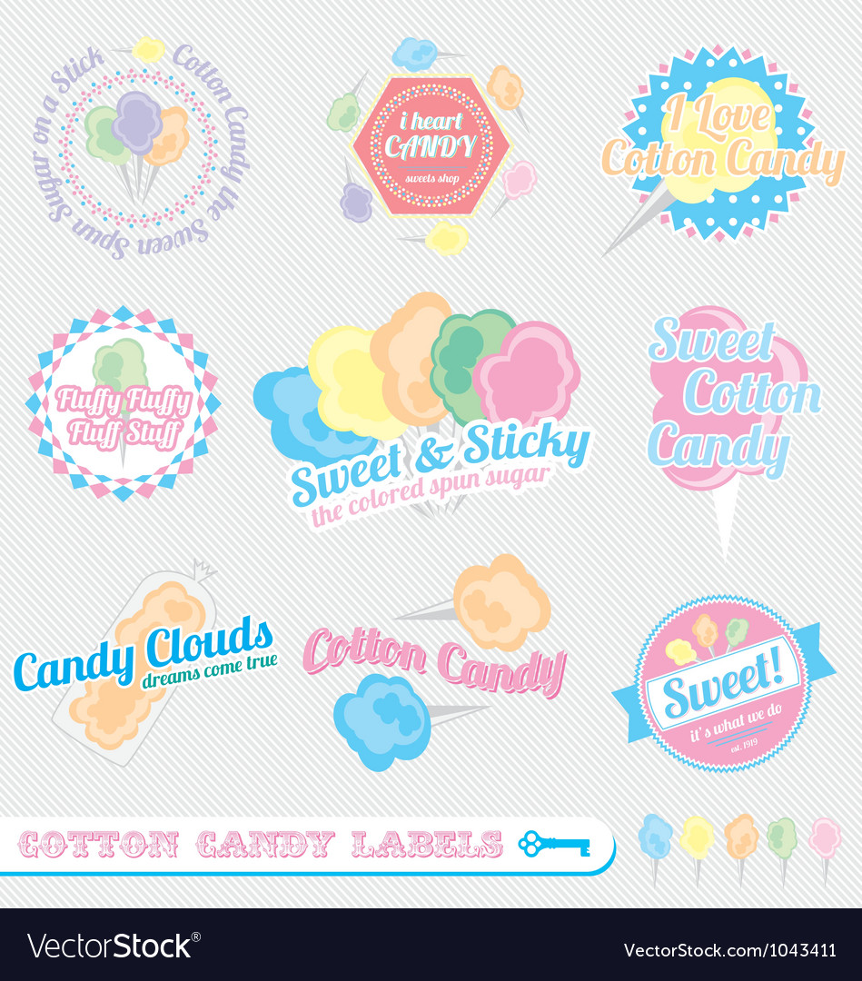 Cotton candy labels vector | Price: 1 Credit (USD $1)