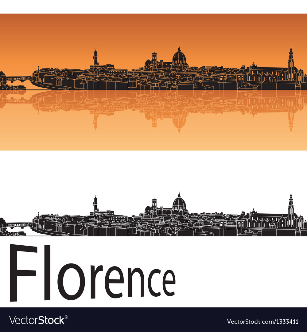 Florence skyline in orange background vector | Price: 1 Credit (USD $1)