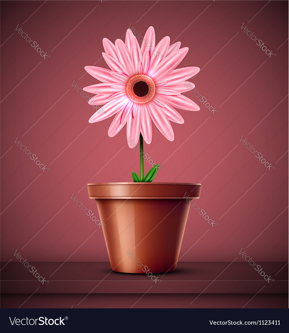 Flower in pot vector | Price: 1 Credit (USD $1)
