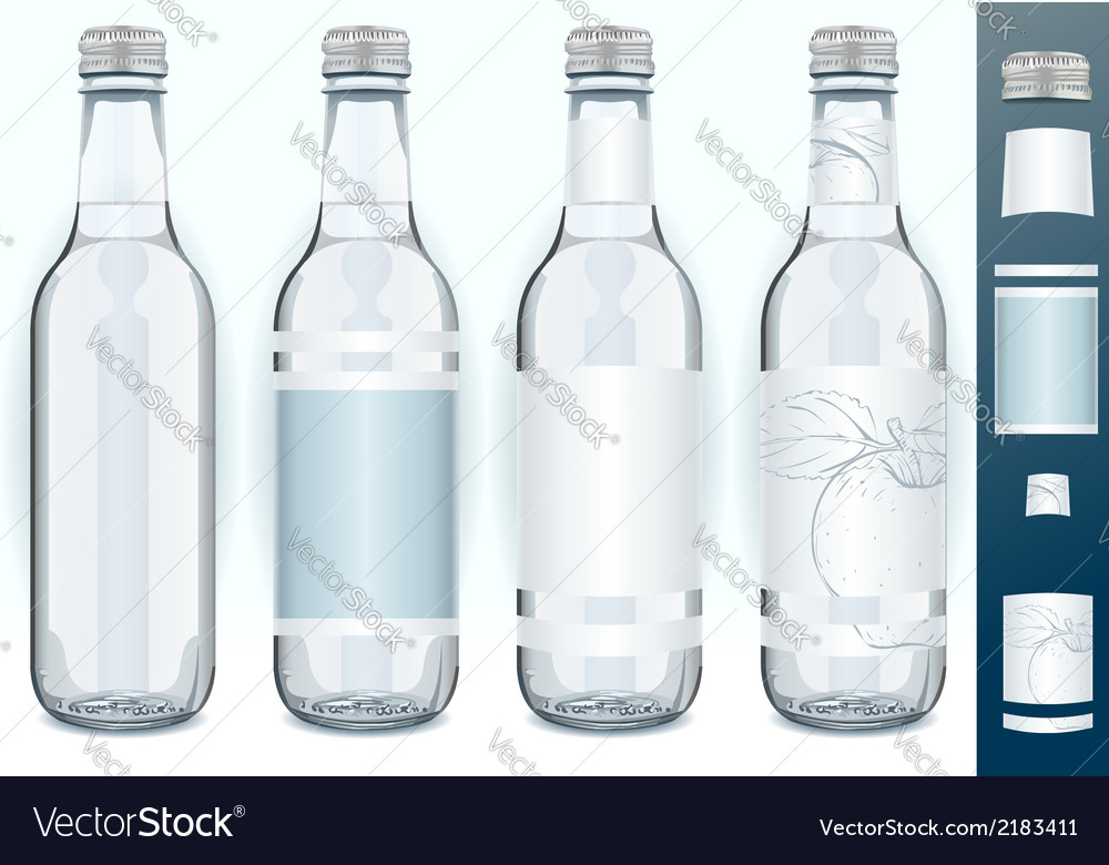 Four glass bottles with generic labels vector | Price: 1 Credit (USD $1)