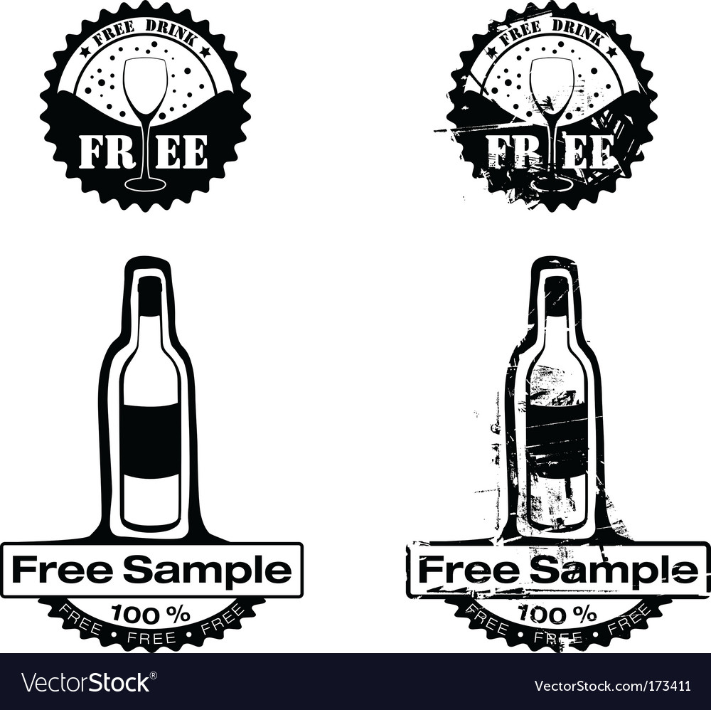 Free drink rubber stamp vector   Price: 1 Credit (USD $1)