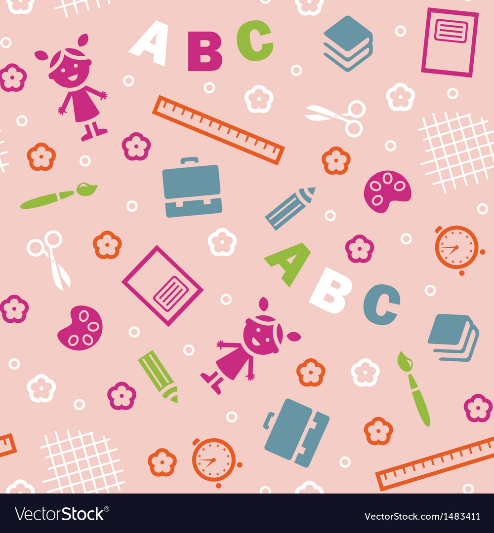 Girl boy and abc seamless background vector | Price: 1 Credit (USD $1)