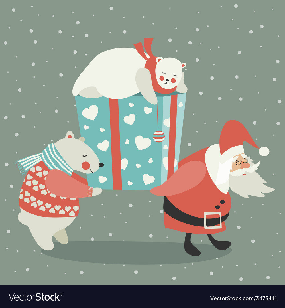 Santa and polar bear carrying a gift vector | Price: 1 Credit (USD $1)
