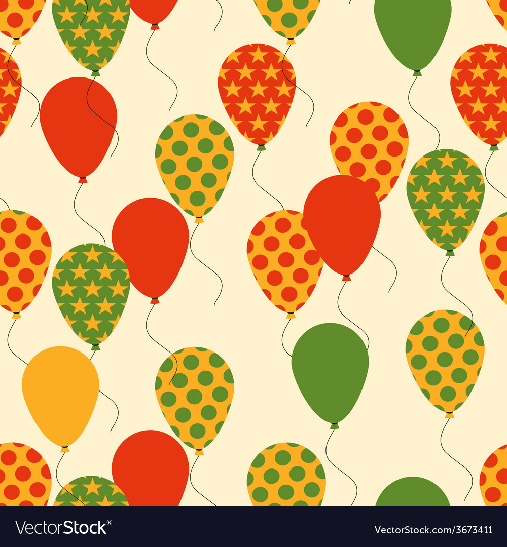 Seamless pattern with colorful balloons background vector | Price: 1 Credit (USD $1)