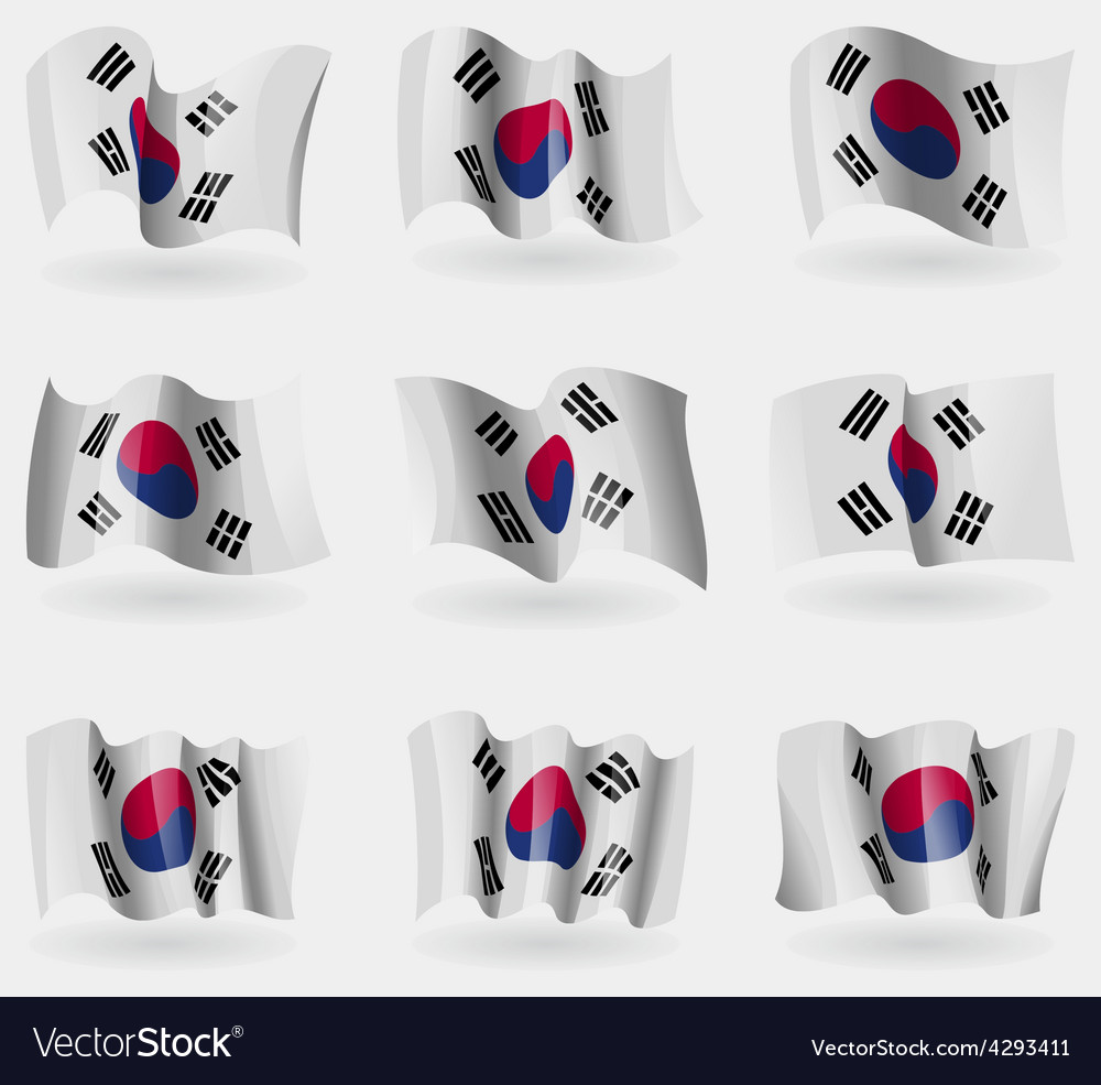 Set of korea south flags in the air vector | Price: 3 Credit (USD $3)
